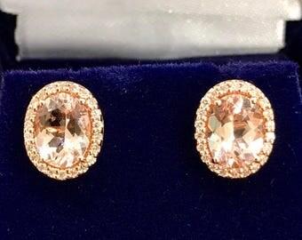 Natural Morganite and Diamond Earrings