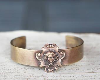 French Brass Louis XIV Versailles Sun King  Stamping  Cuff Bracelet