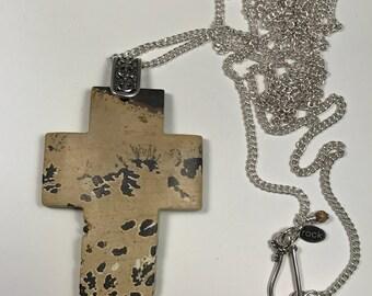 Paintbrush Jasper Gemstone Cross Pendant Necklace