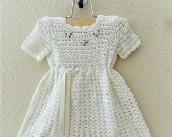 Lovable Crochet White Baby Dress