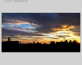 CLOUDY SUNSET - Vitrolles - France - Photo Pan - Poster - table - setting