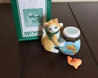 Cat Porcelain Hinged Box