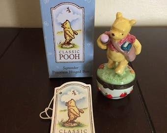 School Winnie the Pooh Porcelain Hinged Box