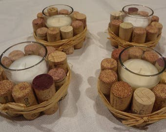 Rustic candles from recycled corks table decor set of 4 pieces