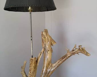 Floating wood and metal lamp