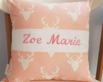 Personalized Pink Deer, Antlers Pillow with Green Piping; Customized Pillow