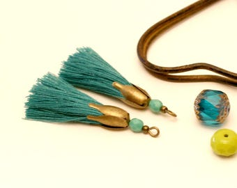 2 PomPoms, emerald green, Turquoise, shell flower Bronze Pearl