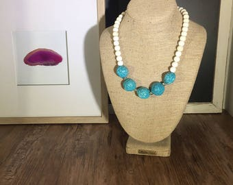 White Beaded Turquoise Rose Statement Necklace