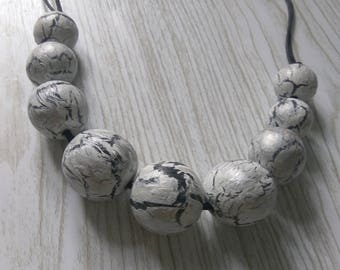 Gray black necklace for girlfriend,gift for friend,Wooden bead necklace,Gray silver Necklace,eco,gift for her,original necklace,summer