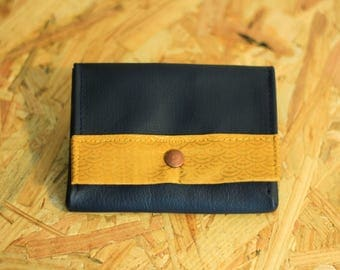 Tristan wallets leather with fabric on Golden ground