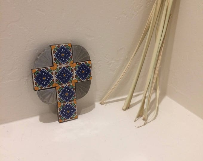 Small Spanish Colonial Style Punched ANTIQUED Tin Cross with Talavera Tile, Handmade
