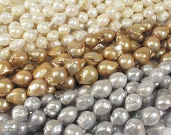 10 to 18mm Graduated  Baroque Pearl Beads Natural Drusy White OR Silver Gray OR Light Champagne Natural Baroque Pearls (99-BQMIX1018)