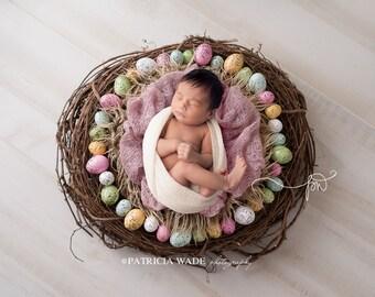 Newborn Digital Background/Easter/Spring/Nest/Eggs/Fur/Mohair