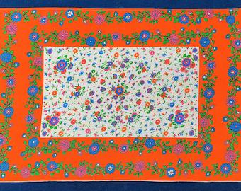 Vintage 70's Hand Printed Tea Towel - Orange Flowers