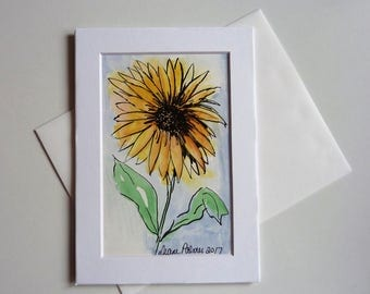 Sunflower, Hand Made Cards, Ink and Watercolor, 5 x 7 inches
