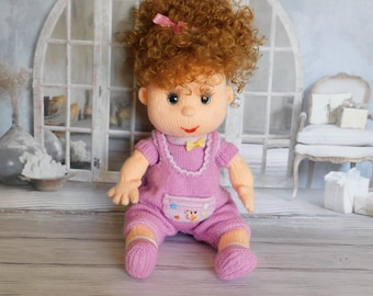 Knitted Doll  plush toy Baby Shower Gift Textile Doll Creative Dolls Nursery Decor Stuffed Toy gift for her lilac doll  cute dolls soft toys