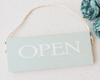 open closed sign, wooden shop sign, hanging door plaque, traditional sign, wooden plaque, tea room sign, door sign, double sided sign