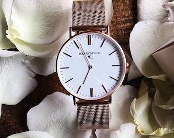 Harry Spring. Rose Gold Mesh Watch.