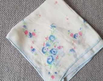 Vintage Handkerchief Blue Flowers