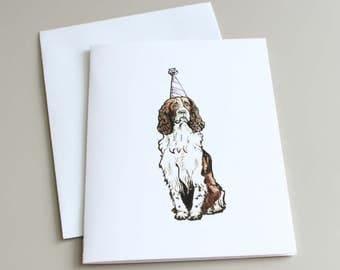 Birthday Card, Dog Card, English Spaniel Card, English Spaniel Illustration, English Spaniel Birthday