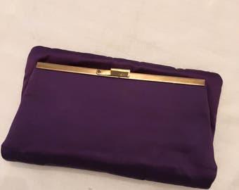 Purple Satin Fold-over Clutch