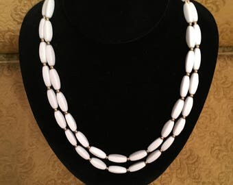 Napier White Milk Glass Double-strand Necklace