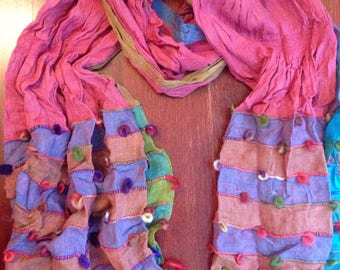 Funky Patchwork cotton spring scarf multi-color 140x40cm