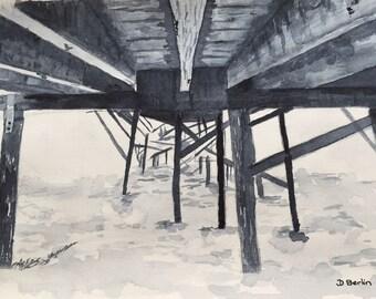 Wharf -original watercolor