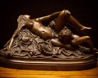1978 D. Julian Hayes Erotic Satyr and Nymph Bronze Statue