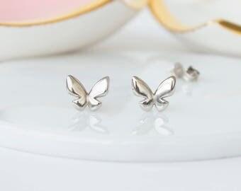 Butterfly Stud Earring, tiny silver stud, Butterfly jewellery, nature love gift, butterfly earrings, butterfuly gifts, cute earrings