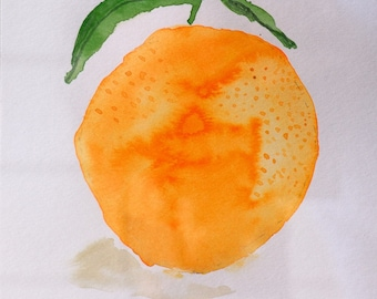 """Orange 3 - Watercolor Painting 6x6"""" Canson paper"""