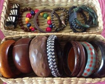 15 wooden bracelets