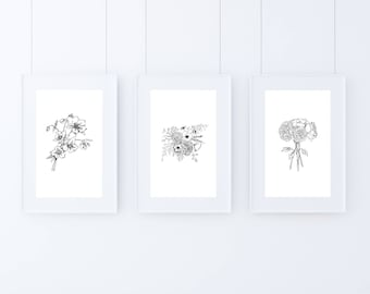 Floral Art Print Collection / Instant Download / Printable Art / Home Decor / Office Decor / Flower Sketch / Flower Printable Art / Wall Art