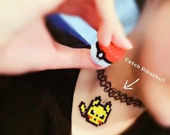 Pikachu pokemon necklace/geeky necklace/8 bit choker/pikachu earrings/pokemon fan gift/pikachu pokemon jewelry/perler hama necklace/pixelmon