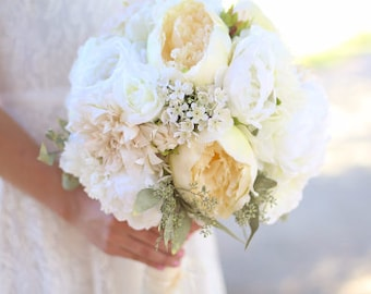 Silk Bride Bouquet White Cream Roses Peonies Wildflowers Natural Bouquet Shabby Chic Vintage Inspired Rustic Wedding (1001)