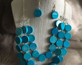 Triple-Strand Acrylic Turquoise Necklace & Earring Set