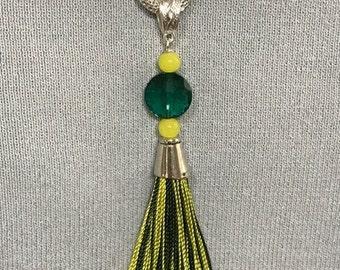 Team Tassel Hunter Green & Yellow Pendant Necklace