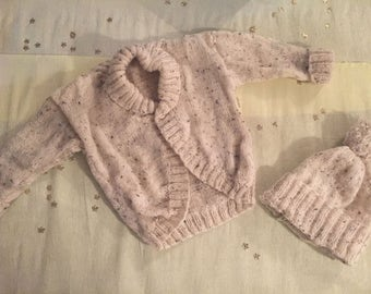 Hand knitted Boys cardigan and wooly hat