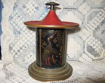 1920's Art Deco Pagoda style oriental cigarette dispenser in brass & enamel!