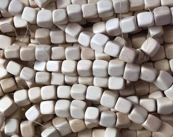 10 x 10mm Dice Square Wood Bead Natural Raw  - 41 Beads Per Strand