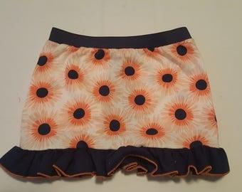 Orange burst ruffled skirt