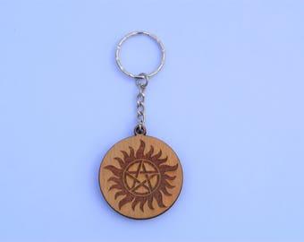 Supernatural Wooden Keyring Anti-possession demonic possession pentagram