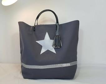 Large Handbag dark gray and silver  - leather handles
