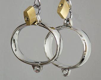 Personalised, Engraved, Steel Handcuffs / Ankle cuffs, BDSM, bondage, fetish, restraints, play, adult, sex toy. Brass Padlock.
