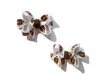 Football Mini Boutique Bows - Football Baby Bows - Football Pigtail Bows - Football Hair Bow Set - Set of 2
