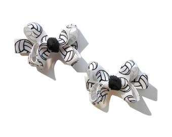 Volleyball Mini Boutique Bows - Volleyball Baby Bows - Volleyball Pigtail Bows - Volleyball Hair Bow Set - Set of 2