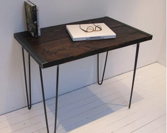 Reclaimed Wood Desk with hairpin Legs,Industrial Wood Desk, Wood Desk with hairpin Legs, Rustic Desk, Computer Desk