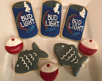 Beer and fishing cookies