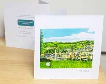 Bath Skyline: Greeting card, quality reproduction of an original painting, (Free Post anywhere in the UK).