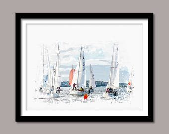 Sailboats Print, Sailboats Digital Print, Boats Printable Art, Sailboats Abstract Print, Boats Poster, Watercolor Art, Wall Decor, Painting
